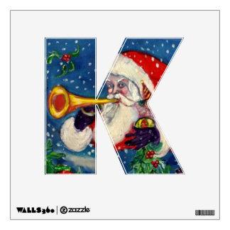 CHRISTMAS K LETTER / SANTA CLAUS BUGLER MONOGRAM WALL STICKER