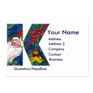 CHRISTMAS K LETTER / SANTA CLAUS WITH RED RIBBON LARGE BUSINESS CARDS (Pack OF 100)
