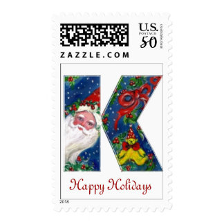 CHRISTMAS K LETTER / SANTA CLAUS WITH RED RIBBON POSTAGE