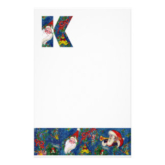 CHRISTMAS K LETTER / SANTA CLAUS WITH RED RIBBON STATIONERY