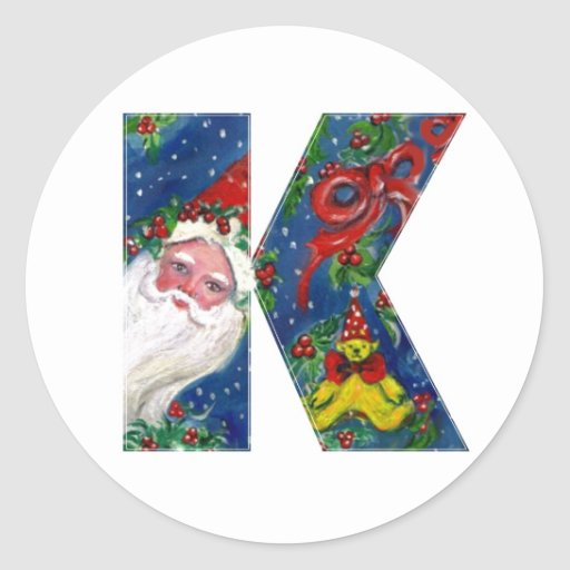 CHRISTMAS K LETTER / SANTA CLAUS WITH RED RIBBON ROUND STICKER