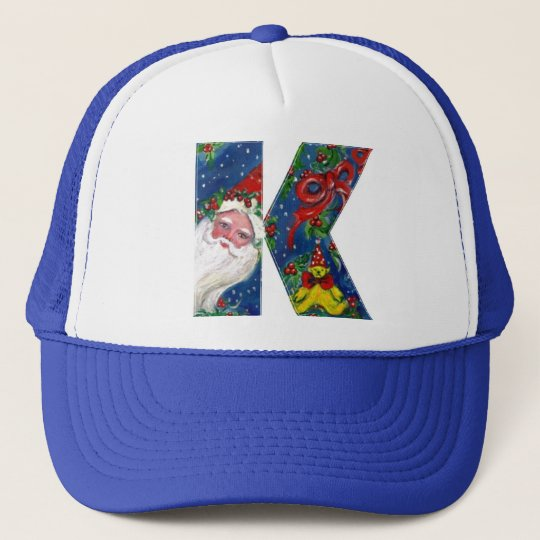 CHRISTMAS K LETTER / SANTA CLAUS WITH RED RIBBON TRUCKER HAT