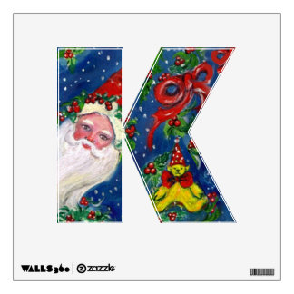 CHRISTMAS K LETTER / SANTA CLAUS WITH RED RIBBON WALL DECAL