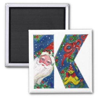 CHRISTMAS K LETTER / SANTA  RED RIBBON MONOGRAM 2 INCH SQUARE MAGNET