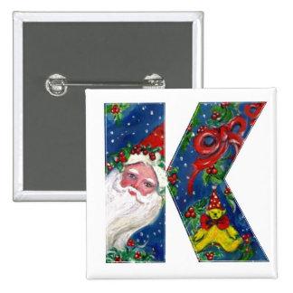CHRISTMAS K LETTER / SANTA  RED RIBBON MONOGRAM BUTTON