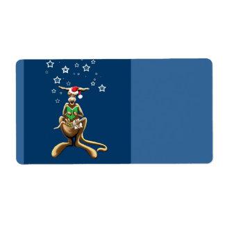 Christmas kangaroo shipping label