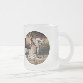 Christmas Kangaroos Australian Style Frosted Glass Coffee Mug