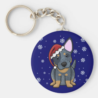 Christmas Kawaii Blue Heeler Basic Round Button Keychain