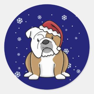 Christmas Kawaii English Bulldog Round Stickers