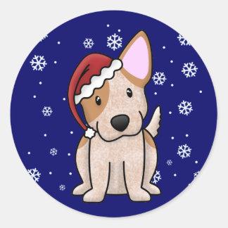 Christmas Kawaii Red Heeler Classic Round Sticker