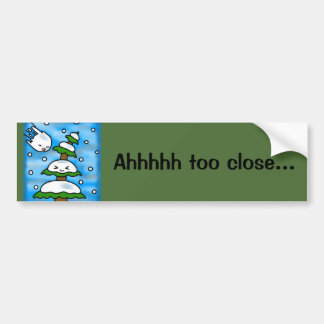 christmas kawaii snow pine tree bumper sticker