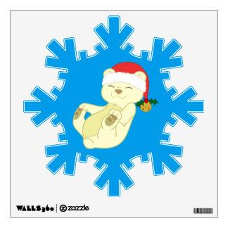 Christmas Kermode Bear - Santa Hat & Jingle Bell Wall Sticker