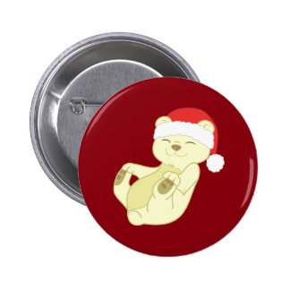 Christmas Kermode Bear with Red Santa Hat 2 Inch Round Button