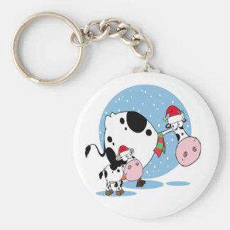Christmas Keychain With Santa Cows