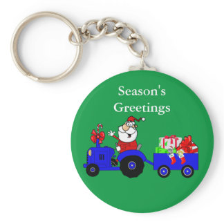 Christmas Keychain With Santa Tractor And Gifts