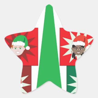 Christmas Kid Present Tree Star Sticker