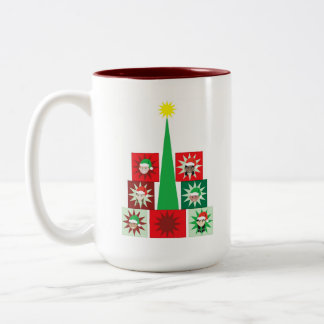 Christmas Kid Present Tree Two-Tone Coffee Mug