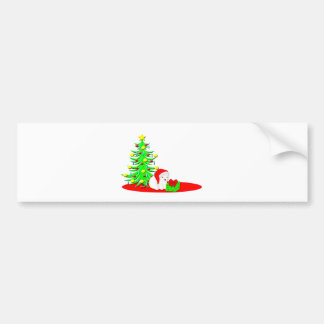 Christmas Kids Baby Polar Bear in Santa Hat Bumper Sticker