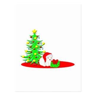 Christmas Kids Baby Polar Bear in Santa Hat Postcard