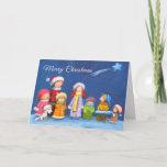"Christmas Kids Choir, 5"" x 7"" Folded Holiday Card<br><div class=""desc"">Christmas kids choir singing Christmas carols! Beautiful handmade illustration ideal for Christmas card</div>"