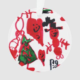 Christmas Kids Drawing Snowmen and Hearts