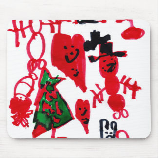 Christmas Kids Drawing Snowmen and Hearts Mouse Pad