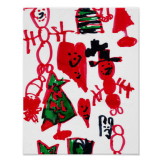 Christmas Kids Drawing Snowmen and Hearts Poster