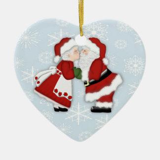 Christmas Kiss Ceramic Ornament