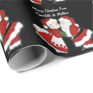 Christmas Kiss Santa Claus Couple Customizable Wrapping Paper