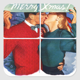 Christmas Kiss Square Sticker