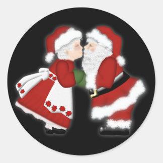 Christmas Kiss Round Sticker