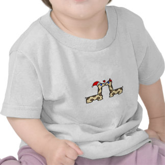 Christmas Kissing Giraffes Tee Shirts