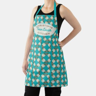 Christmas Kitchen Team Leader Shell Wreath Apron