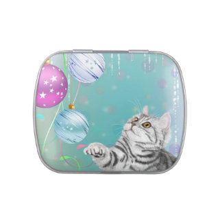 Christmas Kitten Jelly Belly Candy Tin