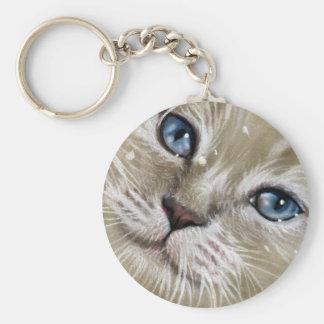 Christmas Kitten Cat Face Keychain