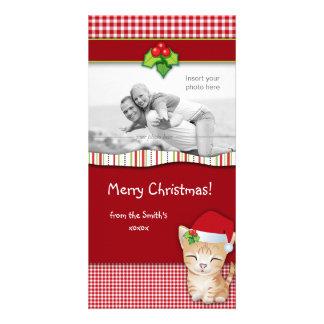 Christmas Kitten Cat Gingham Check Photo Card