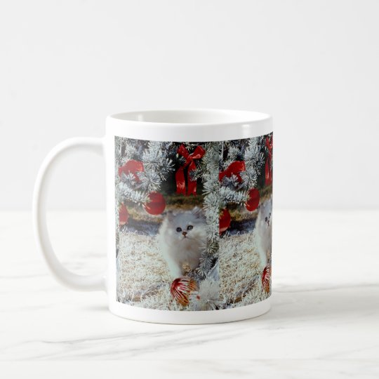 Christmas kitten coffee mug