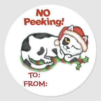 Christmas Kitten Gift  Tag Stickers""