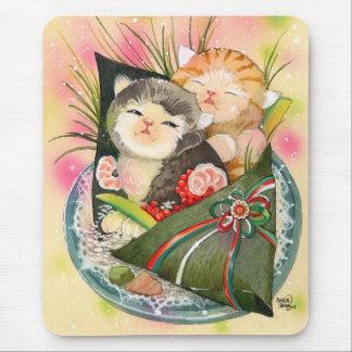Christmas Kitten Handroll sushi Mouse Pad