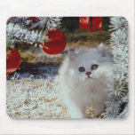 Christmas kitten mouse pad