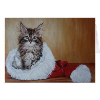Christmas Kitten Note Card