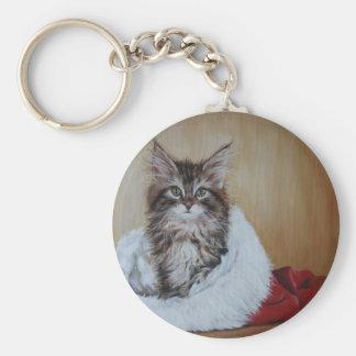 Christmas Kitten Painting Keychain