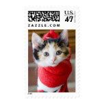 Christmas Kitten Postage Stamp