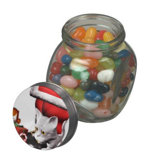 Christmas kitten & Santa jellybean jars & tins Glass Jar