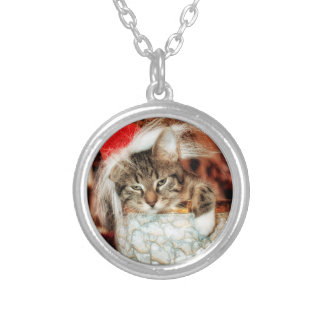 Christmas Kitten Silver Plated Necklace