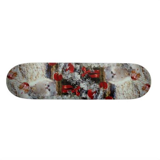 Christmas kitten custom skate board