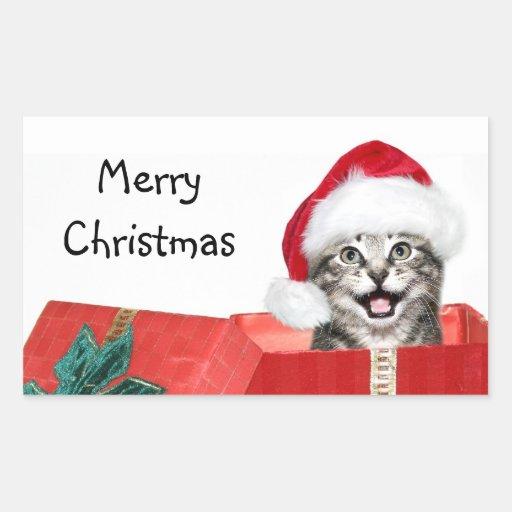 Christmas kitten rectangular sticker