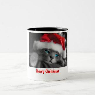 Christmas Kitten Two-Tone Coffee Mug