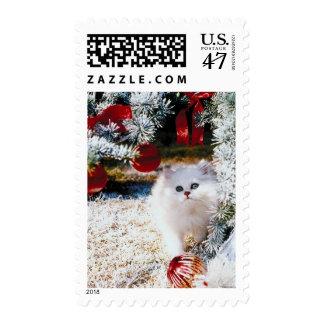 Christmas Kitten Under Tree Postage