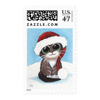 Christmas Kitten Wearing a Santa Hat - Medium Postage